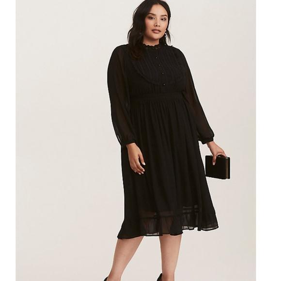 931ead36a18 Torrid Black Lace and Chiffon High Neck Dress